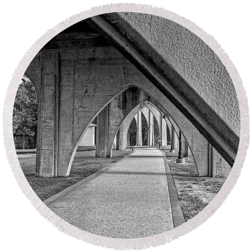 Architecture Round Beach Towel featuring the photograph Conway River Walk Black And White by Kathy Baccari