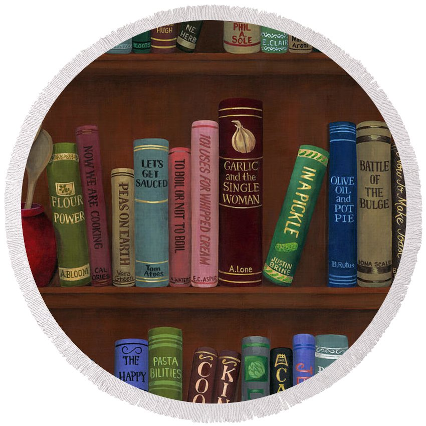 Whimsical Round Beach Towel featuring the painting Cookin' The Books by D Hummel-Marconi