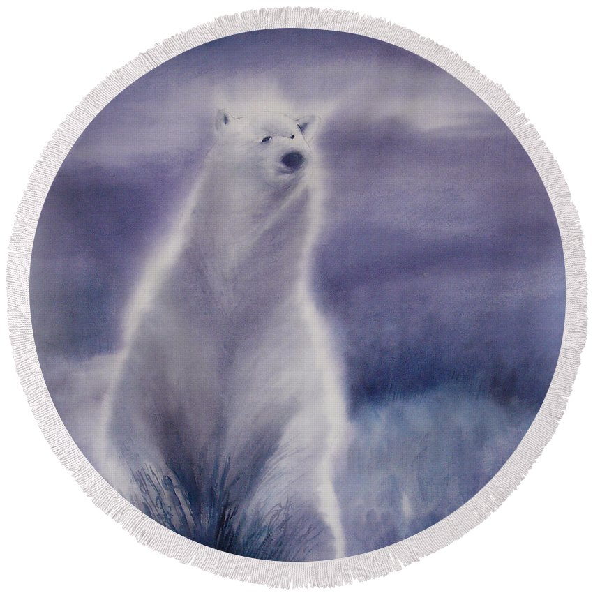 Bear Round Beach Towel featuring the painting Cool Bear by Allison Ashton