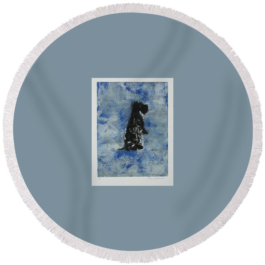 Monotype Round Beach Towel featuring the mixed media Cool Blue by Cori Solomon