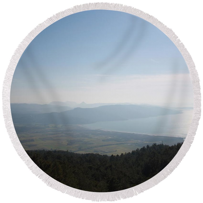Blue Round Beach Towel featuring the photograph Cool Blue Sky And Green Plains Of Gokova From Sakartepe by Tracey Harrington-Simpson