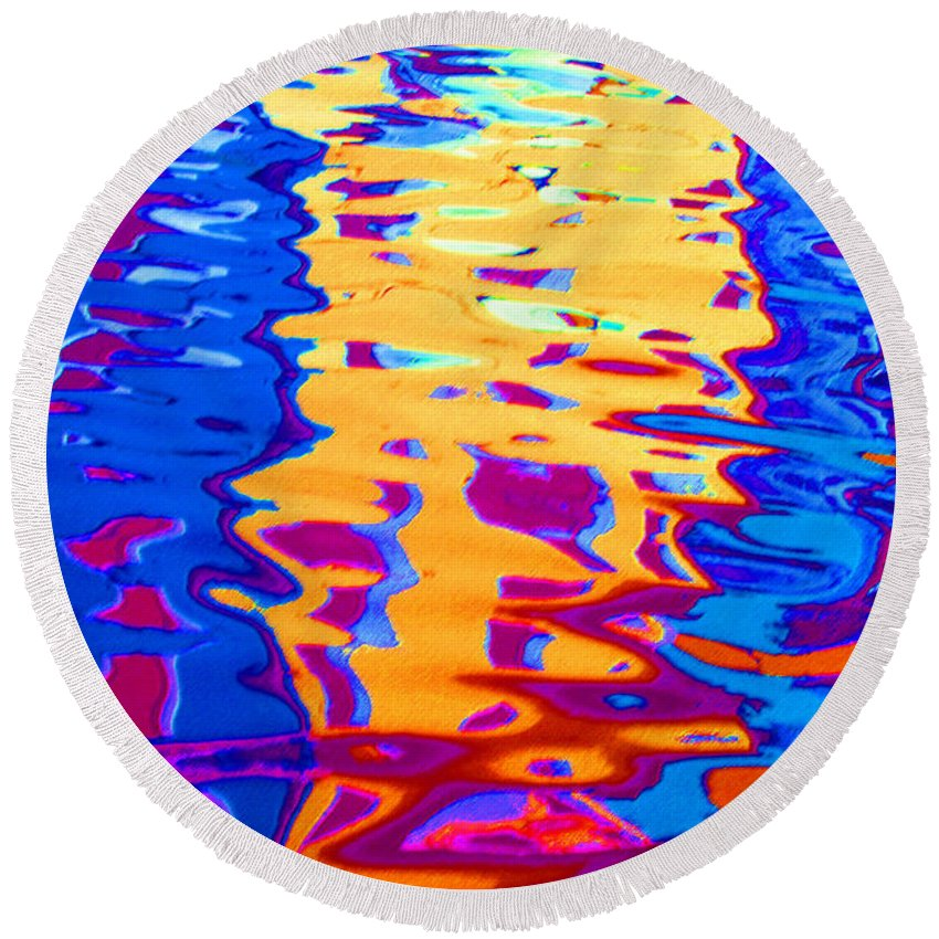 Abstract Round Beach Towel featuring the pastel Cool Meets Warm by Donna Corless