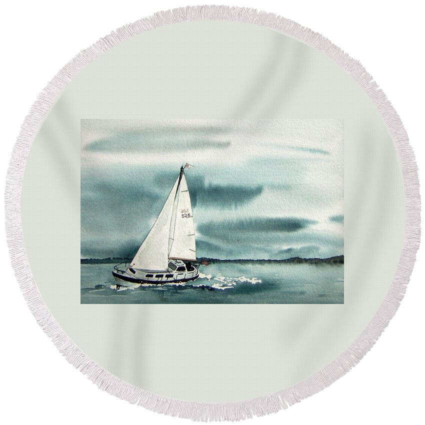 Sailing Round Beach Towel featuring the painting Cool Sail by Gale Cochran-Smith