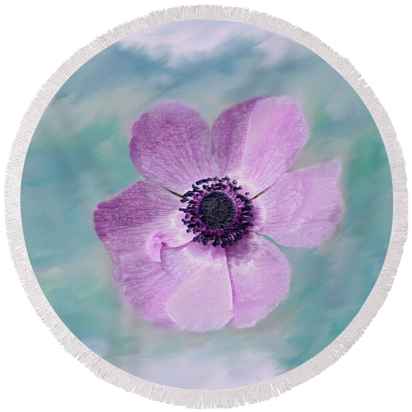 Flowers Floral Macro Nature Gardens Pink Purple Blue Green White Petals Spring Flowers Round Beach Towel featuring the photograph Cool Spring by Linda Sannuti