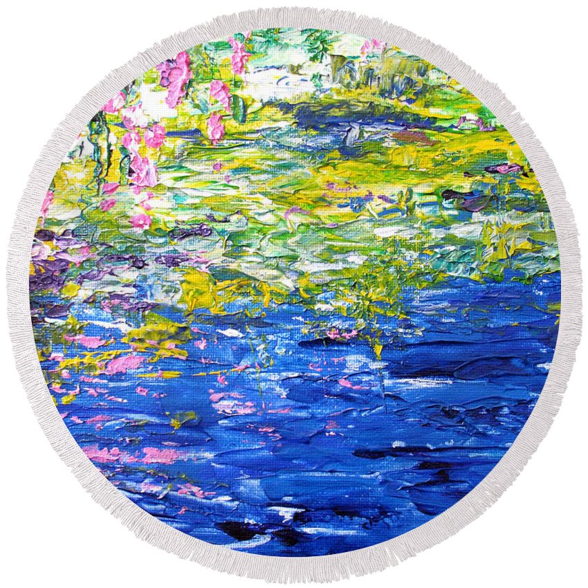Water Round Beach Towel featuring the painting Cool Waters by Elaine Booth-Kallweit