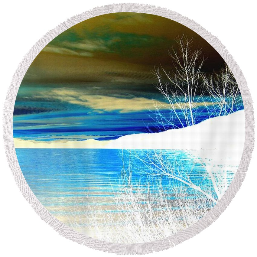 Winter Round Beach Towel featuring the digital art Cool Waters by Will Borden