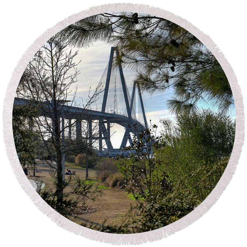 Arthur Ravenel Jr. Bridge Round Beach Towel featuring the photograph Cooper River Bridge Afternoon by Aaron Shortt