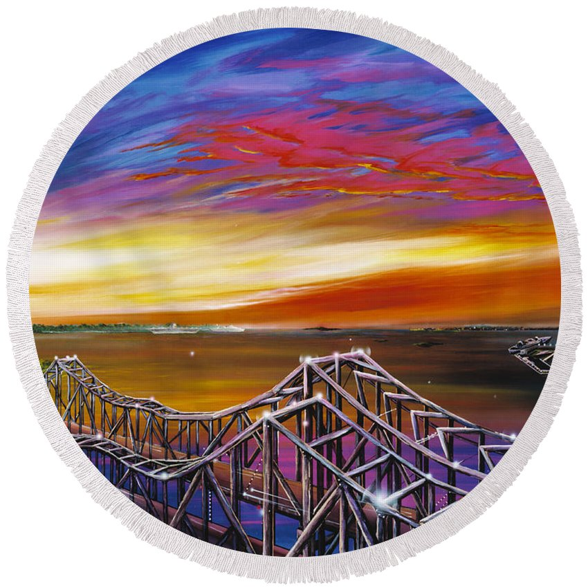 Clouds Round Beach Towel featuring the painting Cooper River Bridge by James Christopher Hill