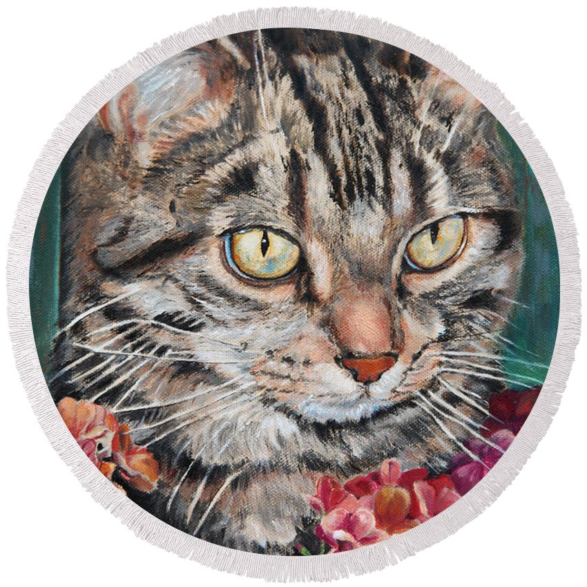Cat Round Beach Towel featuring the painting Cooper The Cat by Portraits By NC