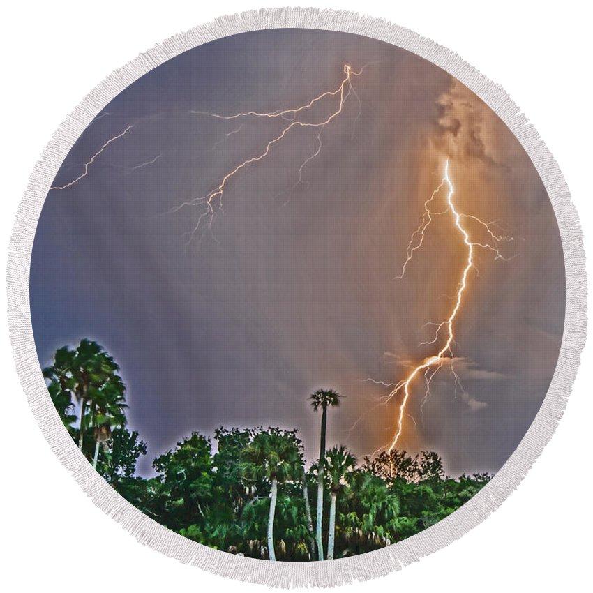 Lightning Round Beach Towel featuring the photograph Cooper's Bayou Stricken by Stephen Whalen