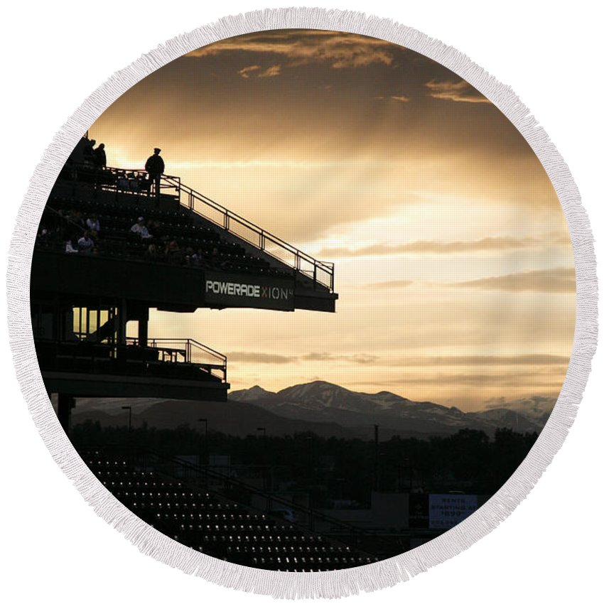 Americana Round Beach Towel featuring the photograph Coors Field At Sunset by Marilyn Hunt
