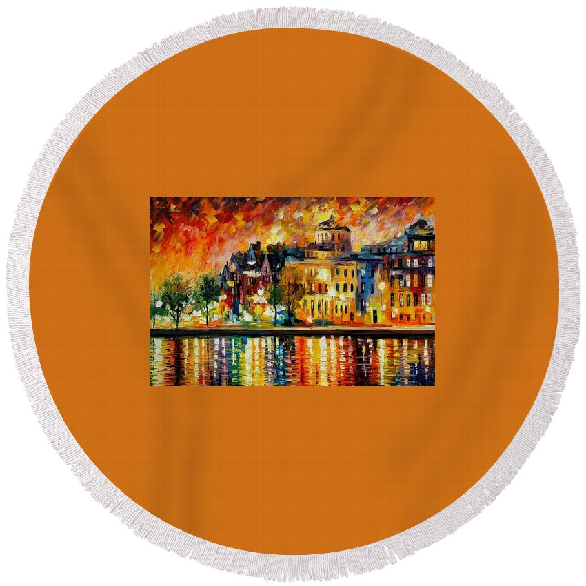 City Round Beach Towel featuring the painting Copenhagen Original Oil Painting by Leonid Afremov
