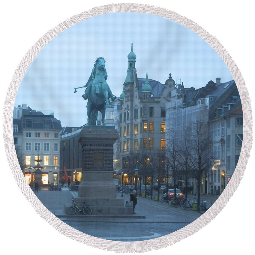 Europe Round Beach Towel featuring the photograph Copenhagen Square by Margaret Brooks