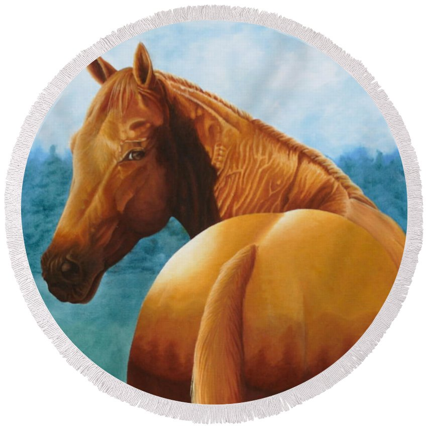 Oil Round Beach Towel featuring the painting Copper Bottom - Quarter Horse by Pauline Sharp