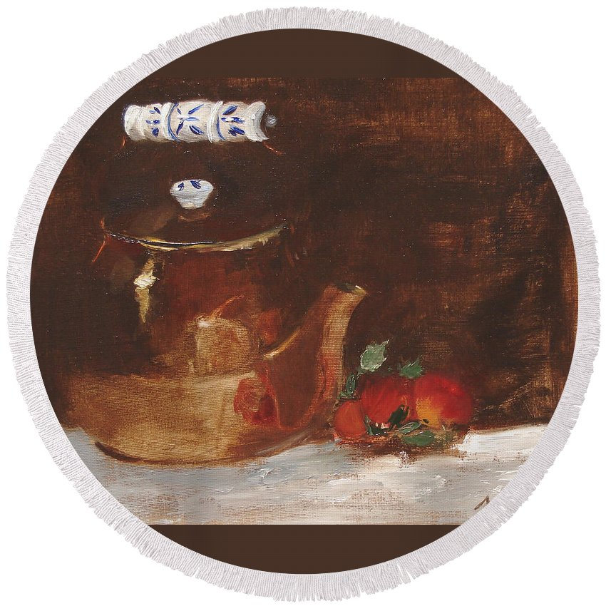 Kitchen Round Beach Towel featuring the painting Copper Kettle by Barbara Andolsek