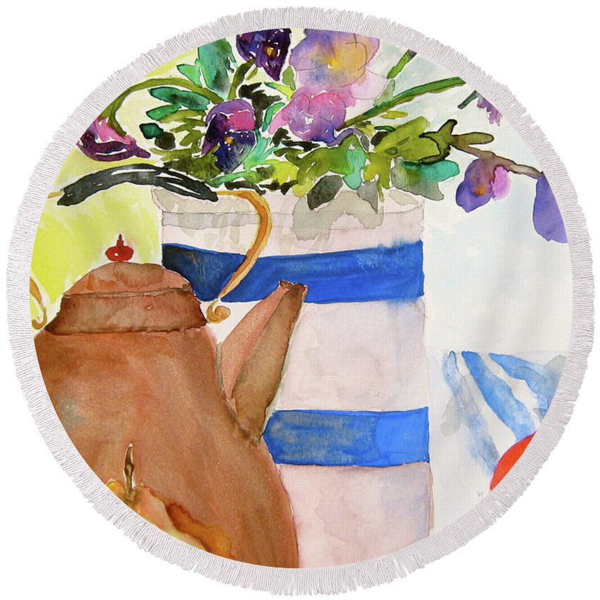 Copper Round Beach Towel featuring the painting Copper Kettle by Beverley Harper Tinsley