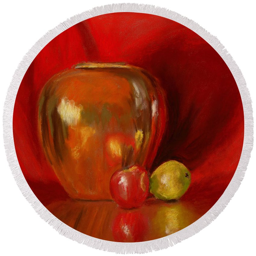 Still Life Round Beach Towel featuring the painting Copper Pot And Fruit by Mary Benke