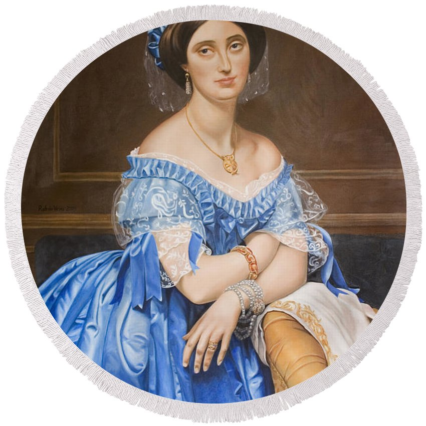 Ingres Round Beach Towel featuring the painting Copy After Ingres by Rob De Vries