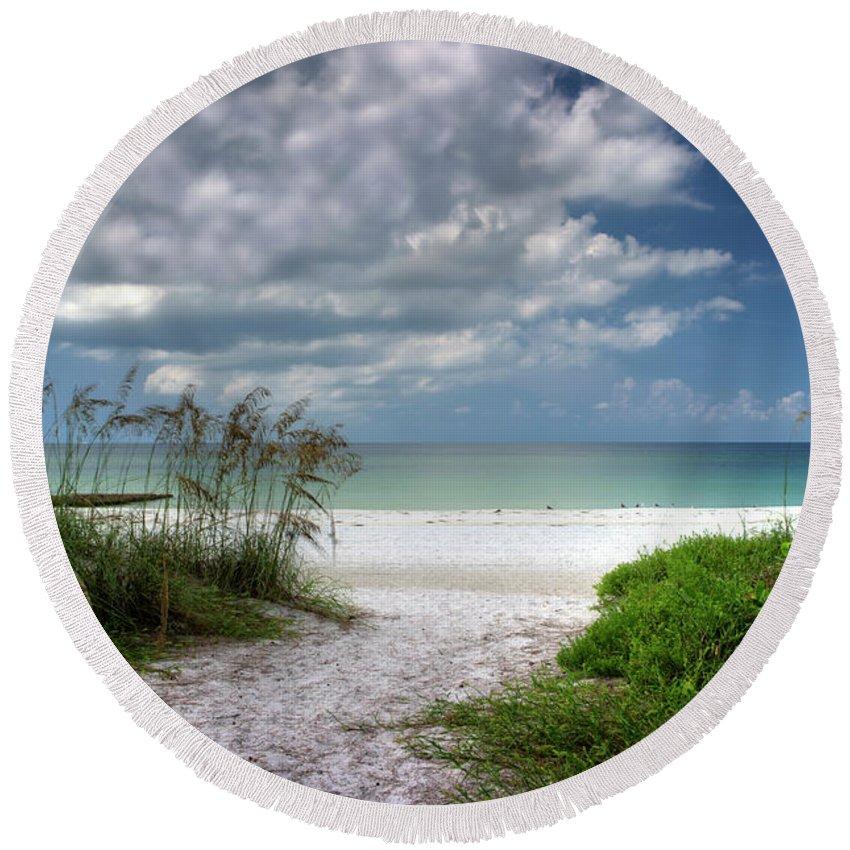 Coquina Beach Round Beach Towel featuring the photograph Coquina Beach-bradenton Florida by David B Kawchak Custom Classic Photography