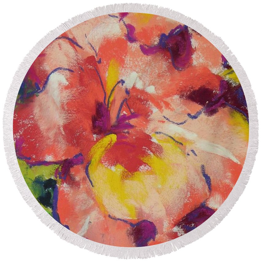 Flower Round Beach Towel featuring the painting Coral Glad by Mary McInnis