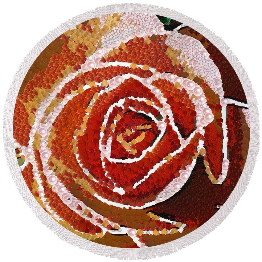 Coral Rose In The Mix Art Round Beach Towel featuring the painting Coral Rose In The Mix by Catherine Lott