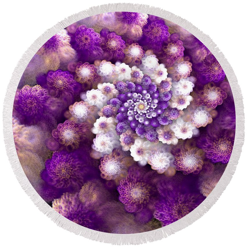 Fractal Round Beach Towel featuring the digital art Coraled Blooms by Amorina Ashton