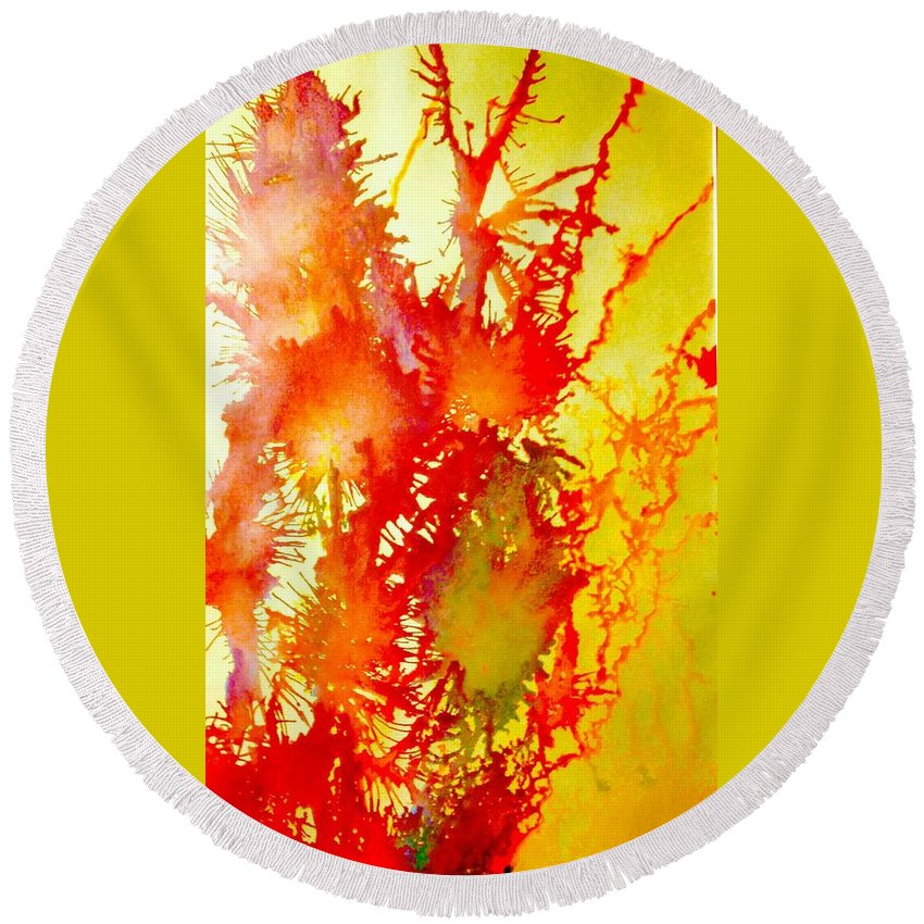 Abstract Artwork Painting Acrylic Mixed Media Round Beach Towel featuring the mixed media Corals In Sunrise by Charles Fuller