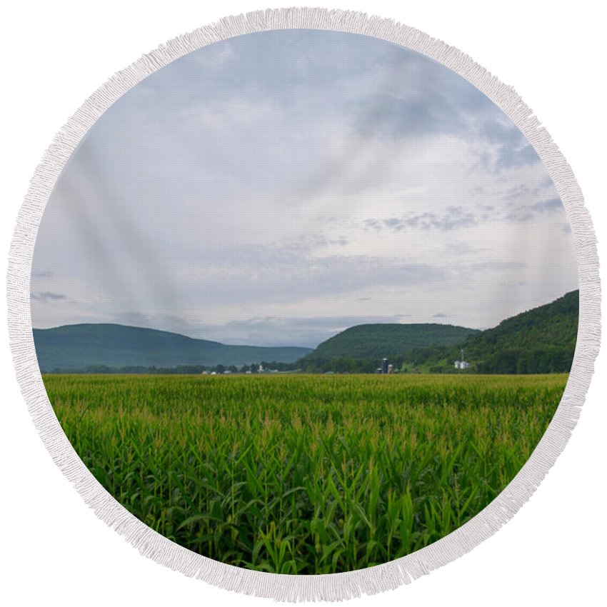 Schoharie County Ny Round Beach Towel featuring the photograph Corn Fields, Upstate New York by Joan D Squared Photography