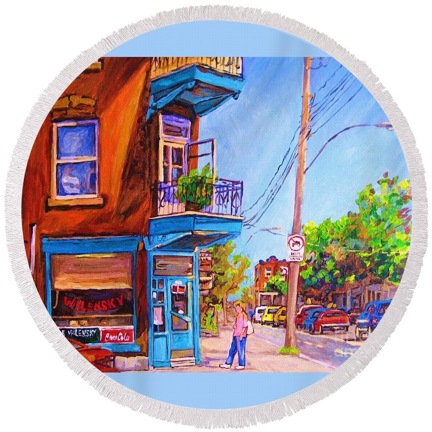 Wilenskys Corner Fairmount And Clark Round Beach Towel featuring the painting Corner Deli Lunch Counter by Carole Spandau