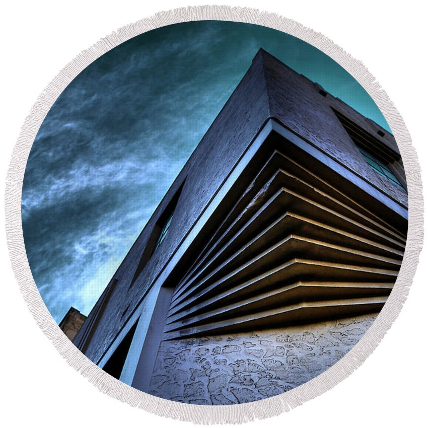 Architecture Round Beach Towel featuring the photograph Corner Shot by Wayne Sherriff