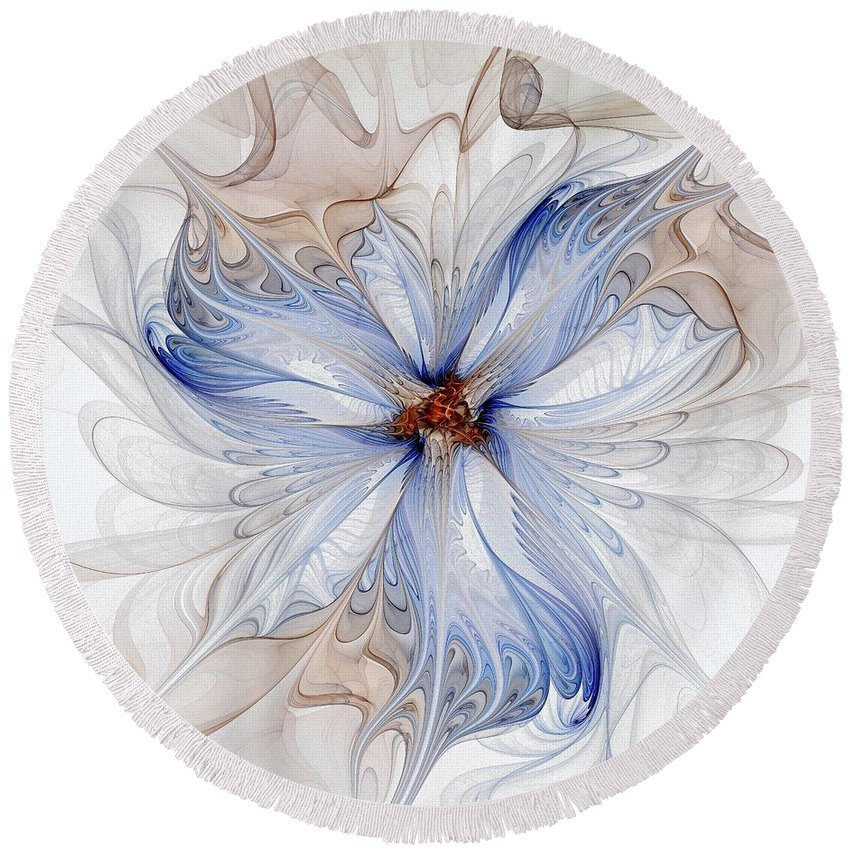 Digital Art Round Beach Towel featuring the digital art Cornflower Blues by Amanda Moore