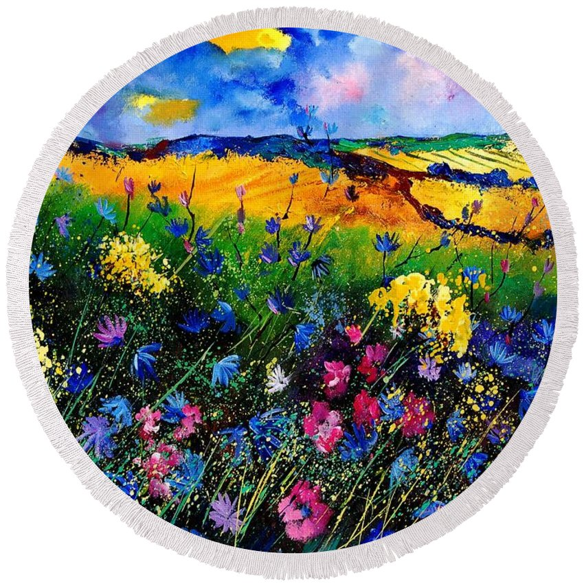 Flowers Round Beach Towel featuring the painting Cornflowers 680808 by Pol Ledent