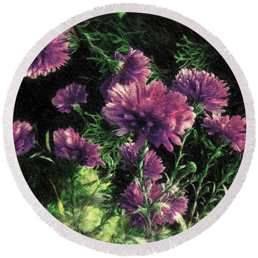 Autumn Round Beach Towel featuring the digital art Cornflowers Autumngraphy - Photopainting Light by RC DeWinter