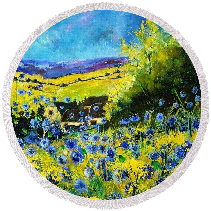 Flowers Round Beach Towel featuring the painting Cornflowers In Ver by Pol Ledent