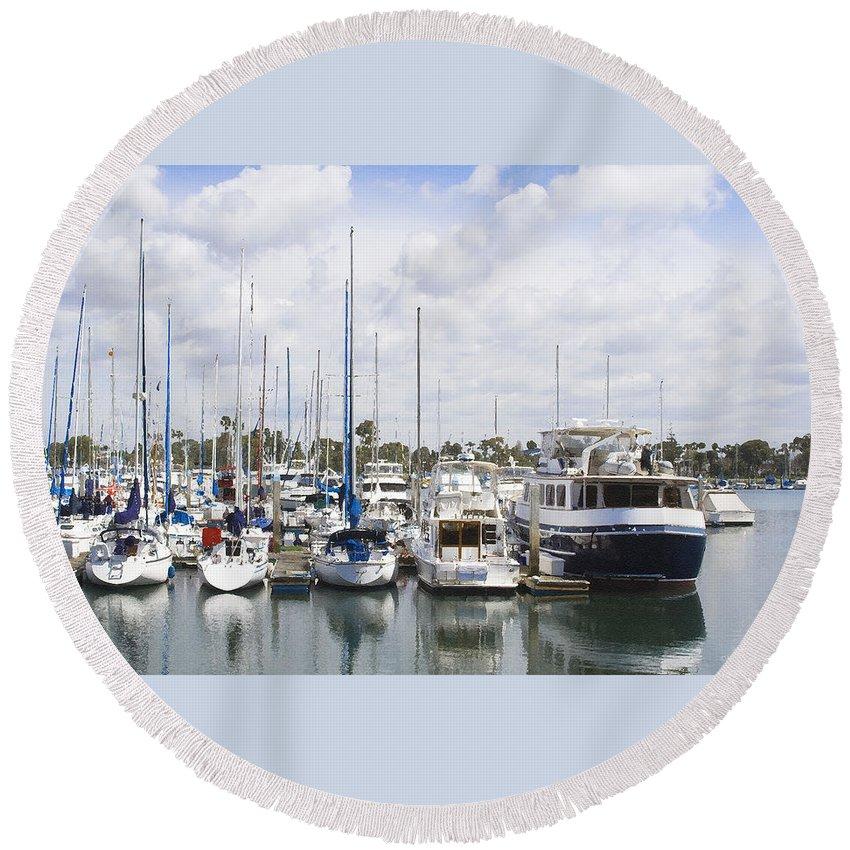Coronado Round Beach Towel featuring the photograph Coronado Boats II by Margie Wildblood