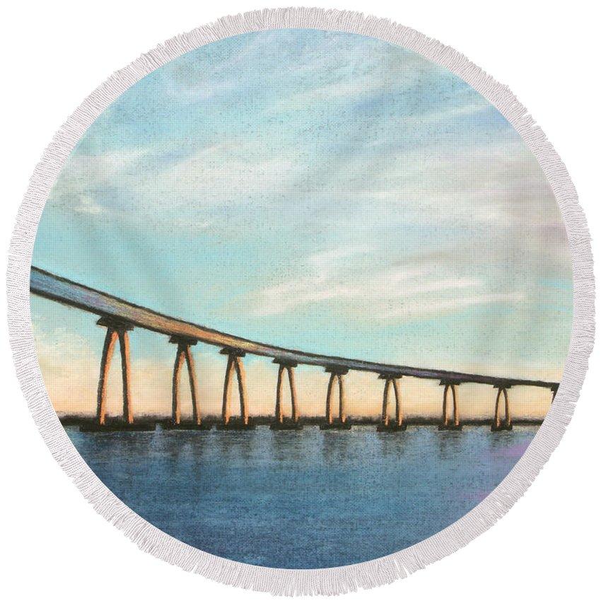 Coronado Round Beach Towel featuring the pastel Coronado Bridge Sunset A by Michael Heikkinen