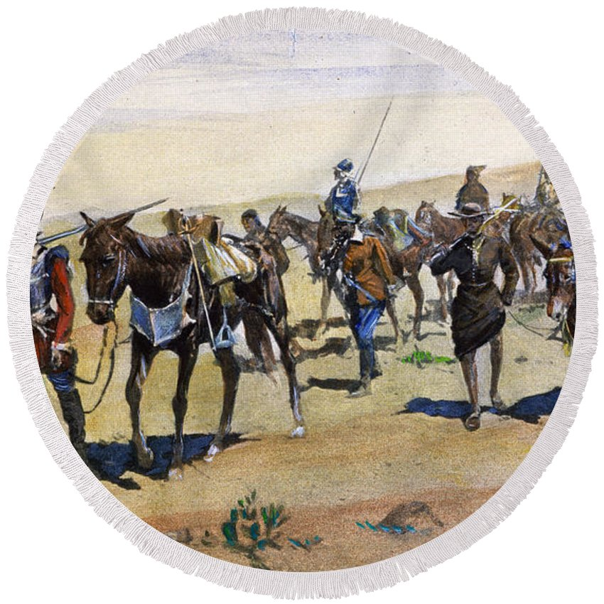 1540 Round Beach Towel featuring the painting Coronados March, 1540 by Granger