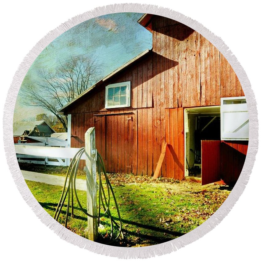Barn Round Beach Towel featuring the photograph Corral by Diana Angstadt