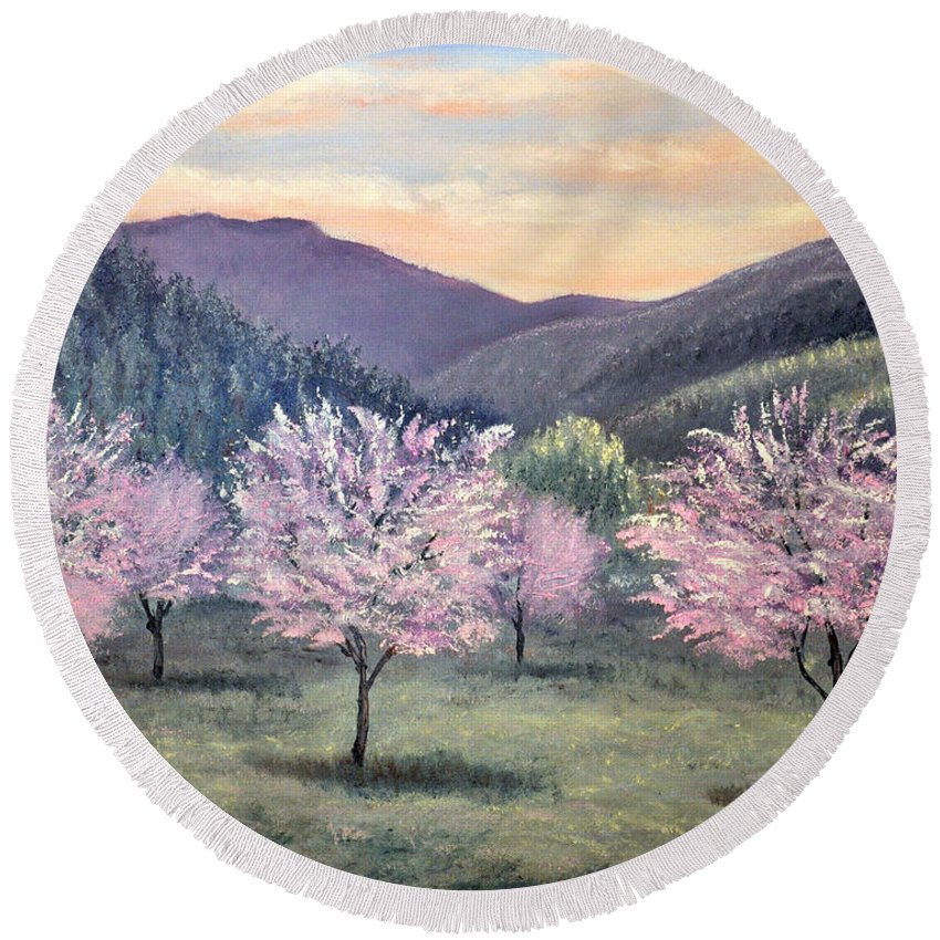 Landscape Round Beach Towel featuring the painting Corrales New Mexico by Barney Napolske