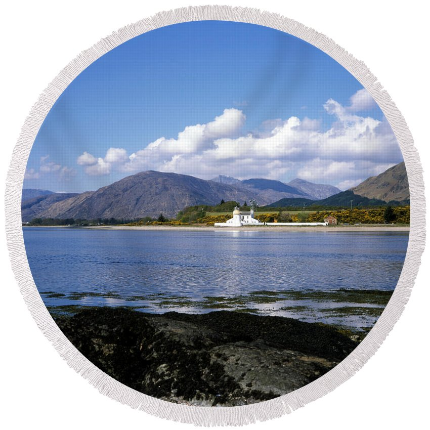 Corran Lighthouse Round Beach Towel featuring the photograph Corran Lighthouse Western Shore Loch Linnhe Fort William Scotland by Michael Walters