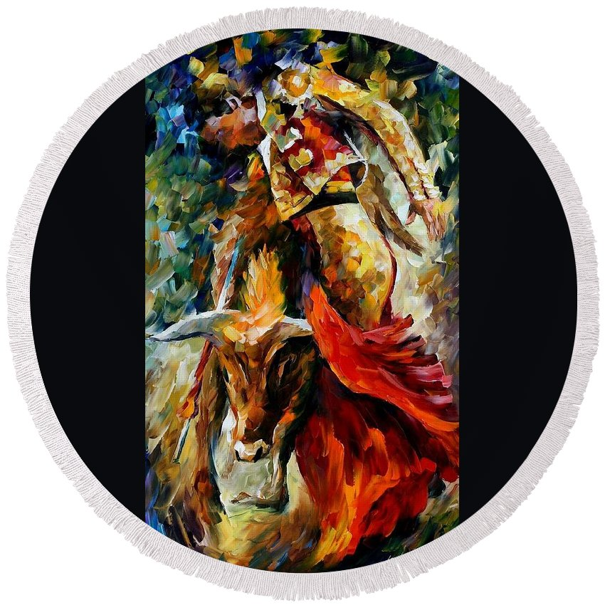 Bull Round Beach Towel featuring the painting Corrida by Leonid Afremov