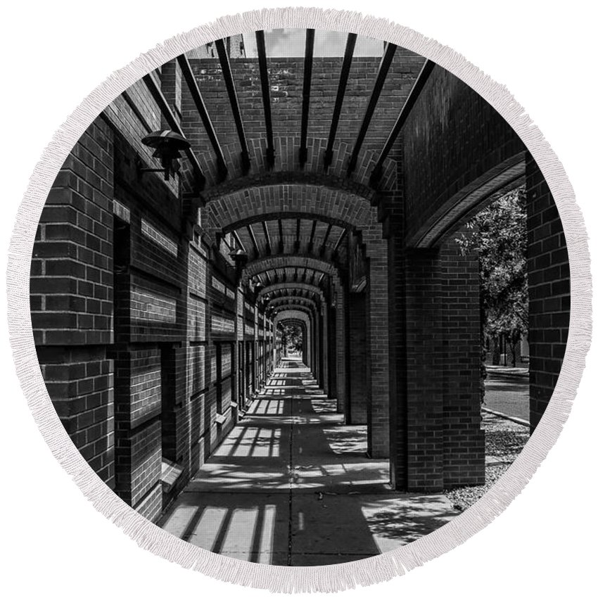 Arizona Round Beach Towel featuring the photograph Corridor Of Brick And Stone by Ray Sheley