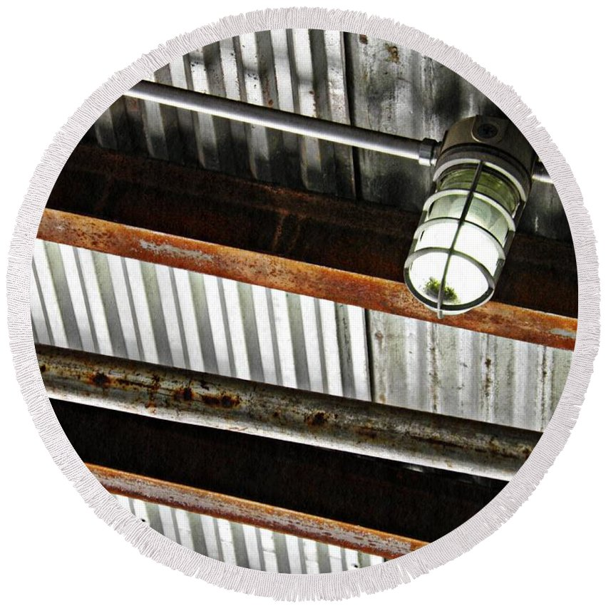 Metal Round Beach Towel featuring the photograph Corrugated Metal Abstract 10 by Sarah Loft