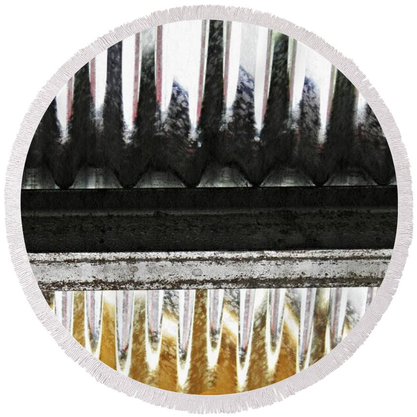 Metal Round Beach Towel featuring the photograph Corrugated Metal Abstract 8               by Sarah Loft
