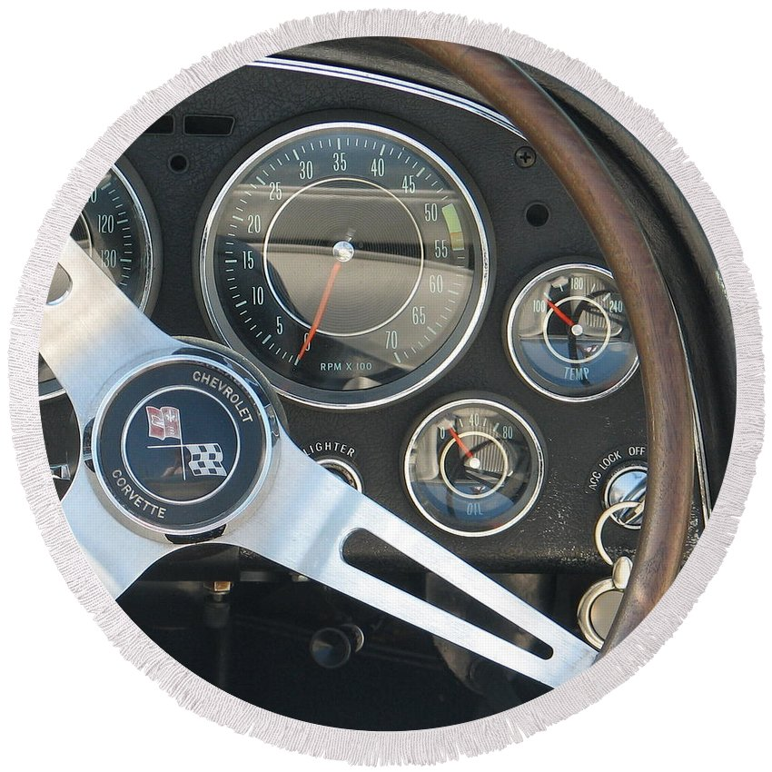 Corvette Round Beach Towel featuring the photograph Corvette Dash by Kelly Mezzapelle