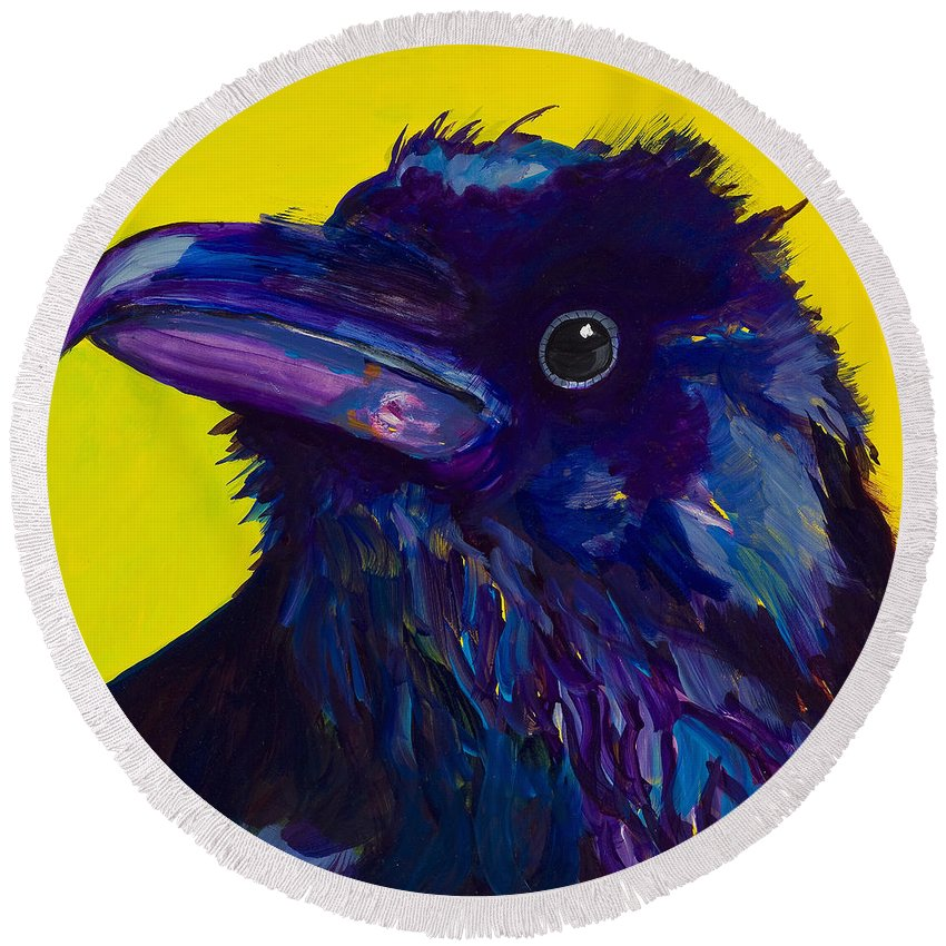 Bird Round Beach Towel featuring the painting Corvus by Pat Saunders-White