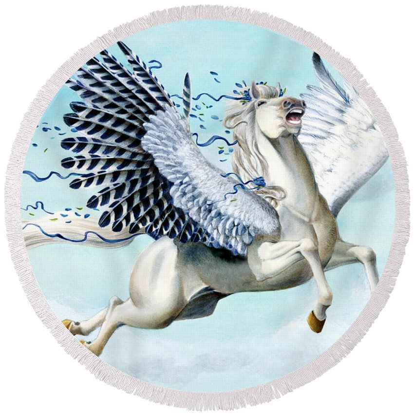 Artwork Round Beach Towel featuring the painting Cory Pegasus by Melissa A Benson