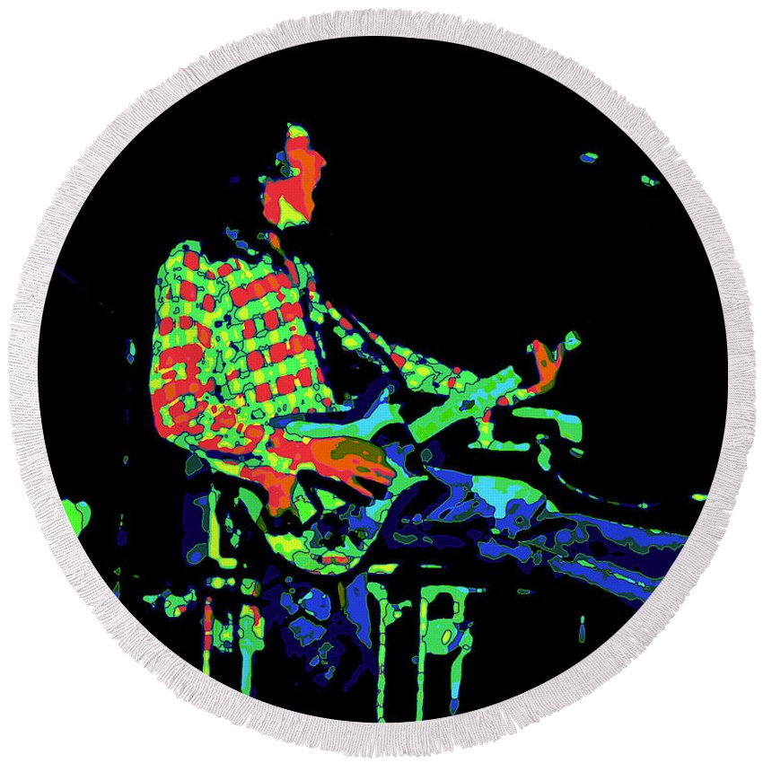 Rock Musicians Round Beach Towel featuring the photograph Cosmic Bullfrog Blues by Ben Upham