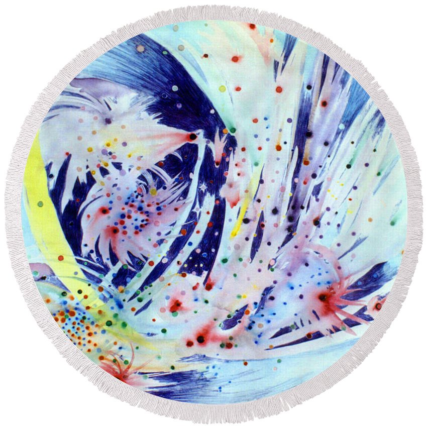 Abstract Round Beach Towel featuring the painting Cosmic Candy by Steve Karol