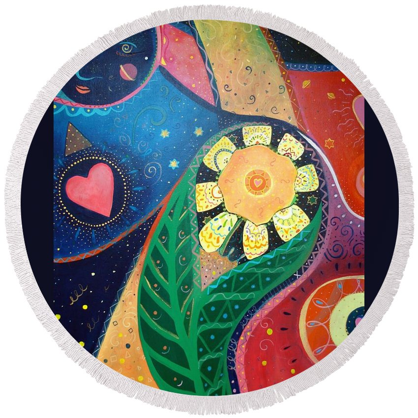 Yin And Yang Round Beach Towel featuring the painting Cosmic Carnival II Aka Duality by Helena Tiainen